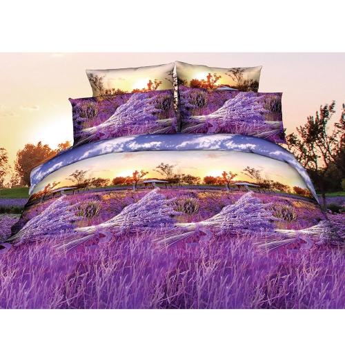 Buy 3D Printed Bedding Set Bedclothes Purple Lavender Queen Size Duvet Cover+Bed Sheet+2 Pillowcases Home Textiles