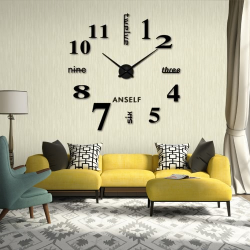 Buy Anself Modern DIY Wall Clock Large Watch Decor Stickers Set Mirror Effect Acrylic Glass Decal Home Removable Decoration