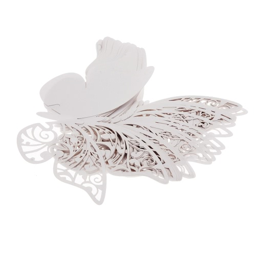 36Pcs Romantic White Carved Butterfly Wine Glass Table Mark Name Place Card for Wedding Birthday Party