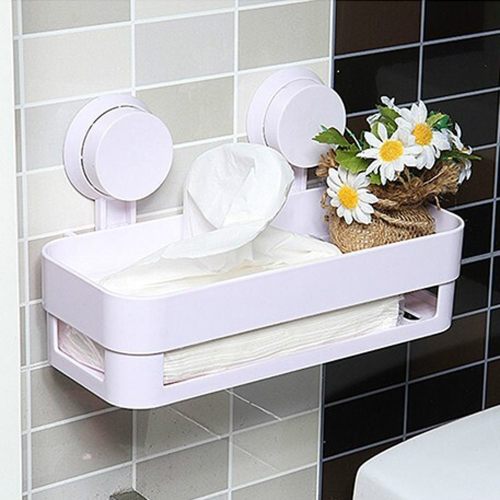 Plastic Bathroom Shelf Kitchen Storage Holder Kitchenware Toiletry Dish Rack with Sucker H15242
