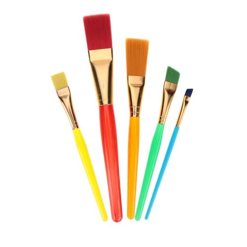 5pcs Flat Nylon Hair Paint Brush Set