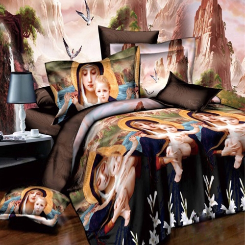 Buy 3D Printed Bedding Set Bedclothes Holy Mother God Queen/King Size Duvet Cover+Bed Sheet+2 Pillowcases
