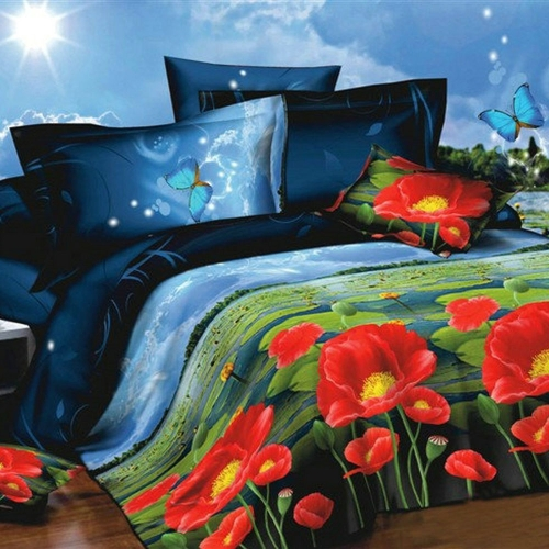 Buy 3D Printed Bedding Set Bedclothes Lotus Moonlight Queen/King Size Duvet Cover+Bed Sheet+2 Pillowcases