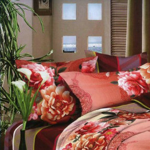 Buy 3D Printed Bedding Set Bedclothes Red Orange Peony Queen/King Size Duvet Cover+Bed Sheet+2 Pillowcases