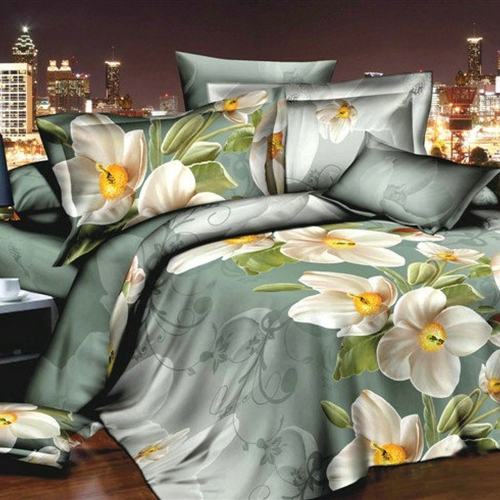 Buy 3D Printed Bedding Set Bedclothes Daffodil grey background Queen/King Size Duvet Cover+Bed Sheet+2 Pillowcases