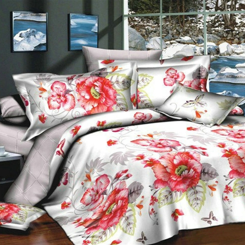 Buy 3D Printed Bedding Set Bedclothes Red Peony White Background Queen/King Size Duvet Cover+Bed Sheet+2 Pillowcases