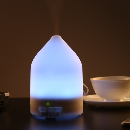 Anself 150ml Ultrasonic Air Humidifier Aroma Diffuser Fragrance Sprayer Office Purifier Mist Maker with Colorful LED Light AC100-240V