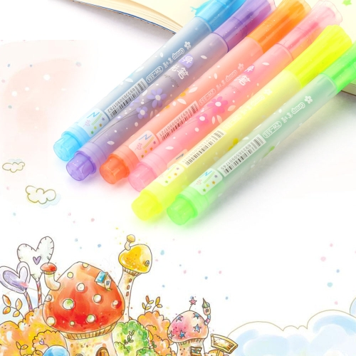 6Pcs Creative Highlighter Color Marker Pen Pentagonal Shape Colorful Pen H15761