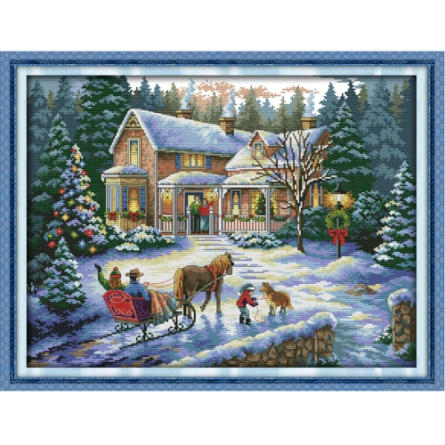 57*44cm DIY Handmade Counted Cross Stitch Needlework Set Embroidery Kit Christmas Scenery Home Decoration 14CT
