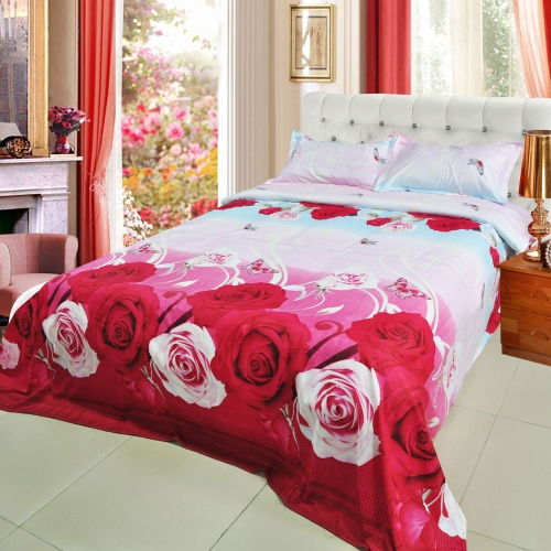 Buy Red Pink Rose Flower Pattern 3D Printed Bedding Set Bedclothes Home Textiles King Queen Size Quilt Cover Bed Sheet 2 Pillowcases