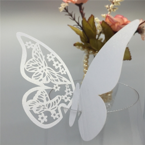 50 PCS Pretty White Butterfly Delicate Place Cards Excellent Seat Card Romantic Wine Glass Decoration Cards for Party Wedding H16122-1