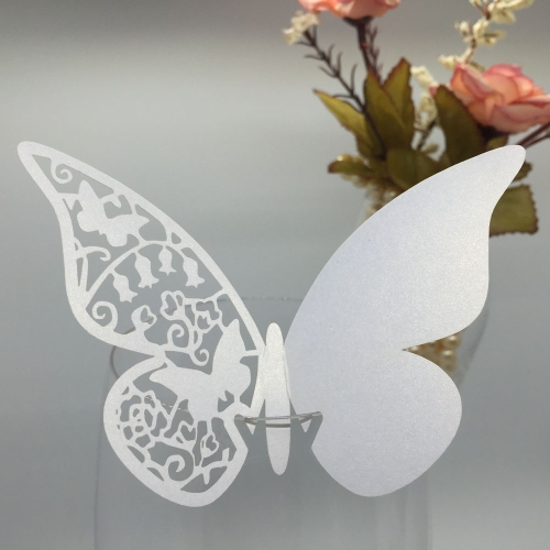50 PCS Pretty White Butterfly Delicate Place Cards Excellent Seat Card Romantic Wine Glass Decoration Cards for Party Wedding
