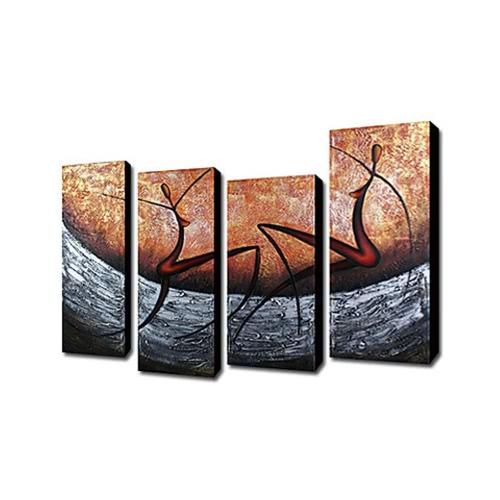 4Pcs Hand-painted Oil Painting Set Modern Abstract Picture Decorative Art for Home Living Room Bedroom Office Hotel Decoration H16130