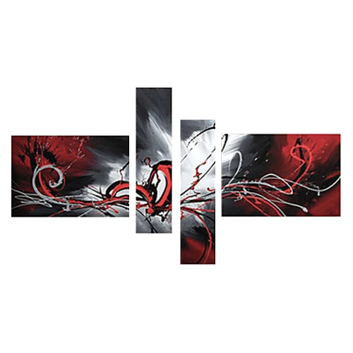 4Pcs Hand-painted Oil Painting Set Flowing Lines Modern Abstract Picture for Home Living Room Bedroom Office Hotel Decoration H16133