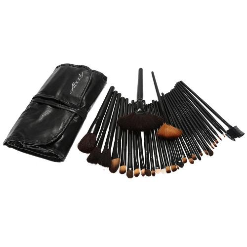 Buy 3Professional Makeup Brush Set Essential Cosmetic Make Brushes Kit Black Powder Eyeshadow Eyeliner Eyebrow + Leather Bag