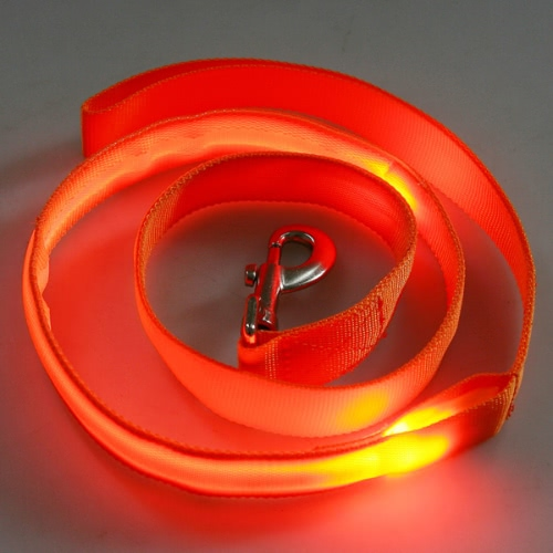 Buy Glow LED Flashing Light Dog Pet Belt Harness Lead Leash Tether Orange