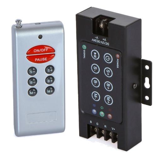 8 Key RGB LED Light Control RF Wireless Remote Controller Dimmer 12-24V