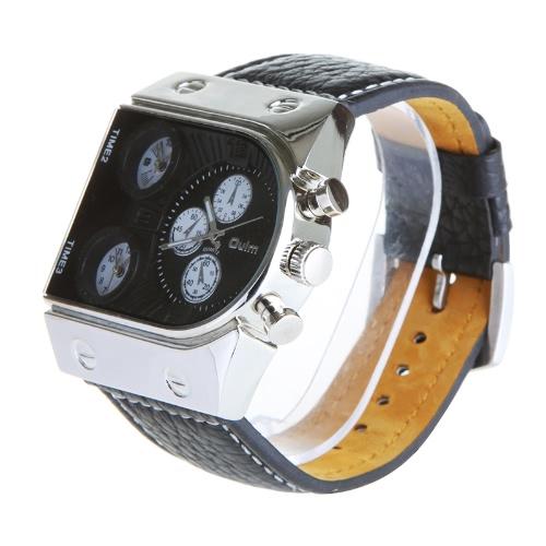 Buy Oulm Man's Fashion Watch 3 Quartz Movement Dial Leather Band Black