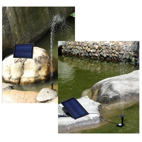 Solar Power Decorative Fountain Water Pump with 6 LED Spotlight for Garden Pond Pool Water Cycle 10V 5W H9383