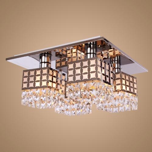 Inox cristal plafonnier Eclairage lampe Gein modèle avec 4 lumières 110-120V