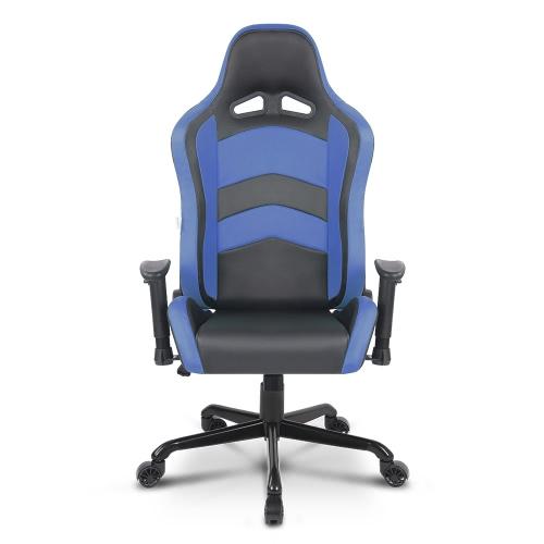 IKAYAA Ergonomique, Siège de gamer avec style voiture, chaise de bureau avec dossier et accoudoirs ajustable, siège pivotant avec coussins pour la taille et appui-tête