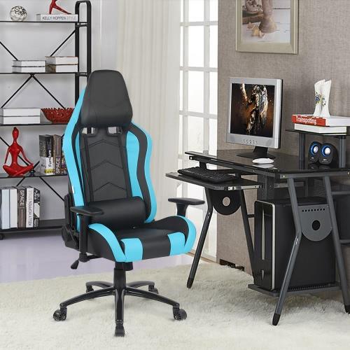 IKAYAA Ergonomic Racing Style Gaming Office Chair Cool Executive Computer Chair W/ Recline Height & Armrest Adjustable Tilt Swivel Function + Headrest and Waist Pillow H16985US-BL