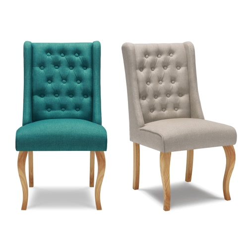 Image of IKAYAA Antique Style Tufted Kitchen Dining Chair Linen Fabric Accent Chair Upholstered Side Living Room Chair W/ Rubber Wood Legs