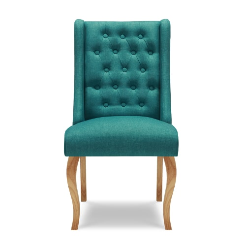 IKAYAA style Antique, chaise de cuisine, salon, fabriqué en lin respirant pour salon, cuisine, avec pieds en bois et caoutchouc