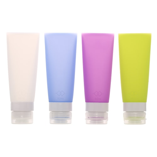 4pcs 80ML Portable Empty Silicone Packing Press Bottle for Lotion Shampoo Shower Gel Container Makeup Refillable Bottles Traveling Use H17398L