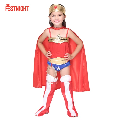 FESTNIGHT Cosplay Supergirl Costume Cute Superman Child Costumes Halloween Kids' Suit Dance Clothes