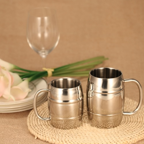 Double-Wall Stainless Steel Drinking Coffee Tea Cup Tub-shaped Beer Mug Beverage Picnic Cup Drinkware with Handle Wipe-clean H17615S