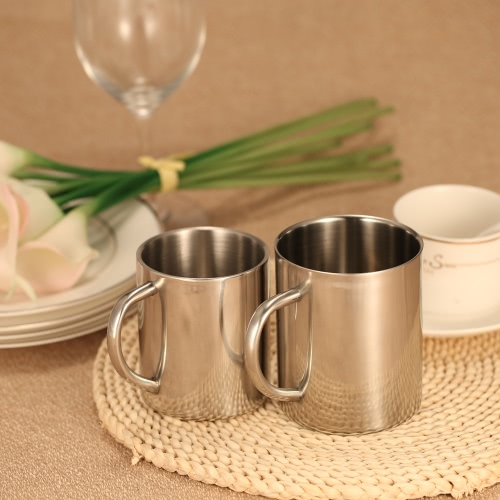 Double-Wall Stainless Steel Drinking Coffee Tea Cup Tub-shaped Beer Mug Beverage Picnic Cup Drinkware with Handle Wipe-clean H17616L