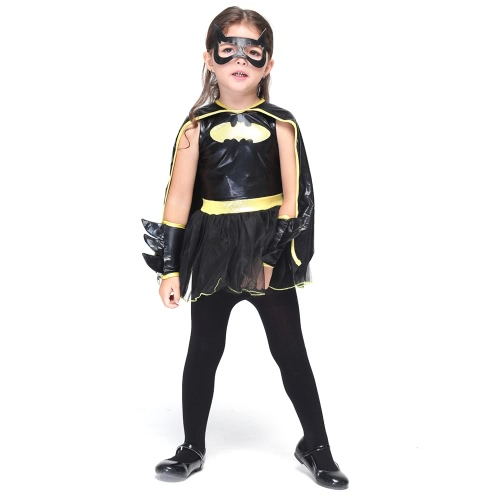 Festnight Fun Batwoman Costumes Halloween Children Skirt Suit Cosplay Bat Costume Party Clothes