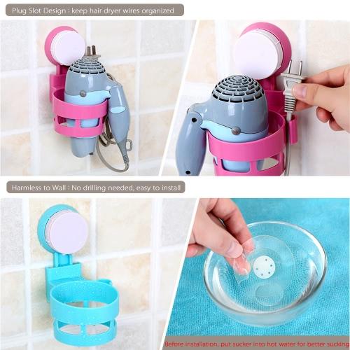 Fashion Wall Mount Bathroom Hair Dryer Holder Stand Caddy Plastic Bathroom Storage Shelf W/ Sucker