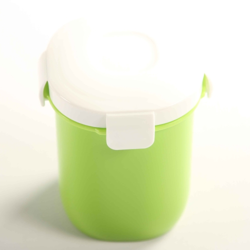 360ml Lovely Portable Mini Leakproof Sealed Cup Bottle Box with 4-side Lock Lid Water Soup Fruits Nuts Container Green H16321GR