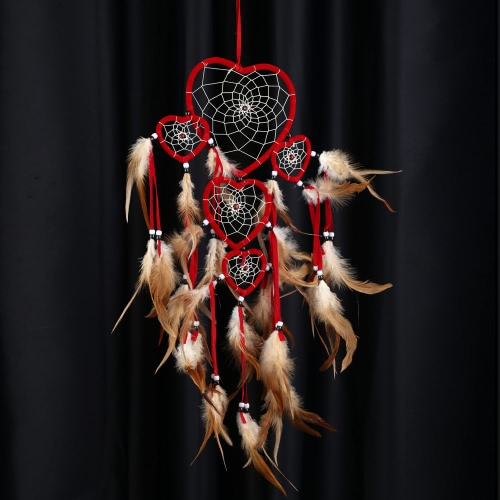Heart-shaped Handmade Dream Catcher with Feather Wooden Bead Indian Style Wall Home Decoration Ornament Car Pendant 5.91Diameter 27.56LongOther home decoration<br>Heart-shaped Handmade Dream Catcher with Feather Wooden Bead Indian Style Wall Home Decoration Ornament Car Pendant 5.91Diameter 27.56Long<br><br>Blade Length: 18.0cm