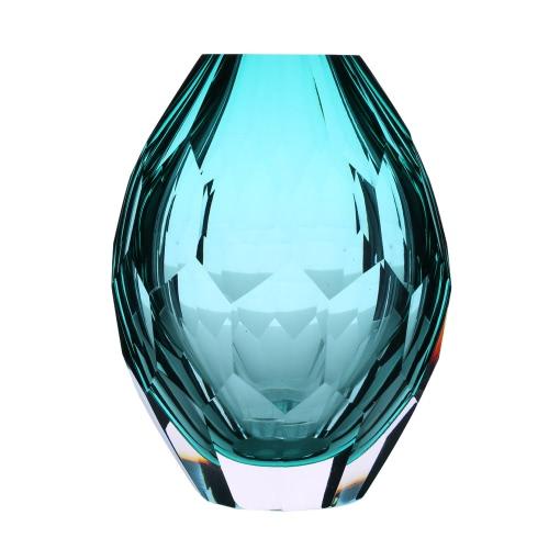 CASAMOTION Hand-blown Vintage Elegant Glass Vase Hand Polishing Home Art Decoration Floral Arrangements H16822GR