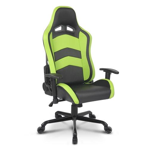 IKAYAA Chaise de jeu avec style fauteuil de voiture de course, chaise ergonomique hauteur et inclinaison réglables avec accoudoir et chaise pivotante