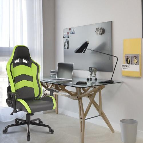 IKAYAA Cool Racing Style Gaming Office Chair Ergonomic Executive Computer Race Chair W/ Recline Height & Armrest Adjustable Tilt Swivel Function H16984US-GR