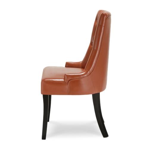 IKAYAA Style classique, chaise avec dossier tufté, chaise de salon en Lin, rembourré, pieds en bois et caoutchouc