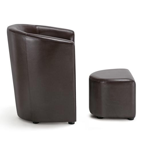 IKAYAA Contemporain, Cuir PU, fauteuil, siège, pour accompagner un canapé dans un salon en bois et caoutchouc