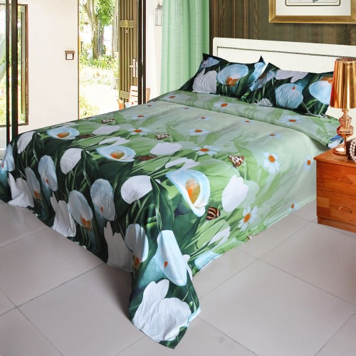 Buy 3D Printed Bedding Set Bedclothes White Tulip Green Background Queen/King Size Duvet Cover+Bed Sheet+2 Pillowcases