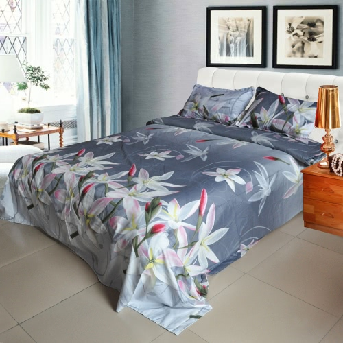 Buy 3D Printed Bedding Set Bedclothes White Lily Light Black Background Queen/King Size Duvet Cover+Bed Sheet+2 Pillowcases