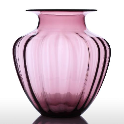 CASAMOTION Modern Hand Blown Large Jar Shaped Glass Vase Ribbed Design Home Art Decoration Floral Arrangements H16832PU