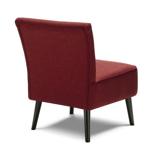 IKAYAA Fauteuil contemporain tissu rembourré, siège pour salon, chambre, avec pieds en bois et caoutchouc