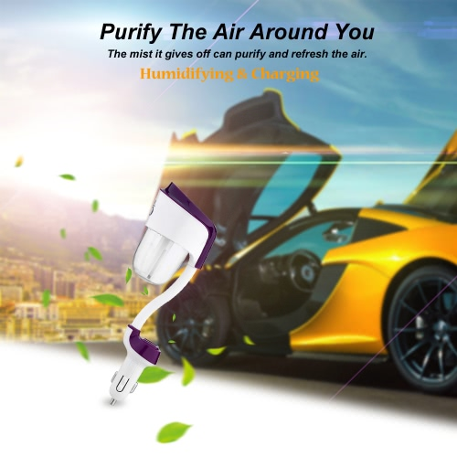 Nanum Mini DC 12V USB Auto Portable Car Humidifier Air Purifier Freshener Aroma Essential Oil Diffuser Aromatherapy Mist Maker Fogger for Travel