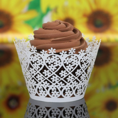 50 PCS Laser Cut Delicate Carved Flower Muffin Cupcake Wrappers Beautiful Cup Cake Topper for Party Birthday Wedding Reception Banquet Bridal Shower