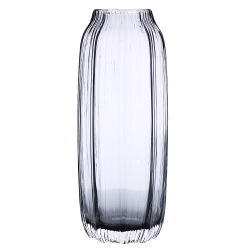 CASAMOTION 31cm Hand Blown Modern Ribbed Design Glass Vase Home Art Decoration Floral Arrangements Straight Shape H16823GY