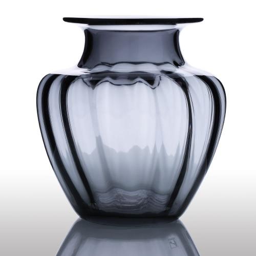 CASAMOTION Modern Hand Blown Jar Shaped Glass Vase Ribbed Design Home Art Decoration Floral Arrangements H16824GY