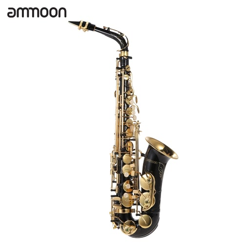 Buy ammoon bE Alto Saxphone Brass Lacquered Gold E Flat Sax 82Z Key Type Woodwind Instrument Cleaning Brush Cloth Gloves Cork Grease Strap Padded Case